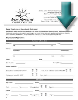 new horizons crisis center employment